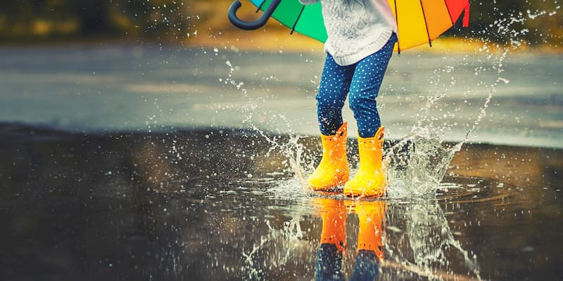 指スタンプ 雨の日 保育